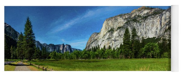 Yosemite Valley Meadow Panorama Yoga Mat