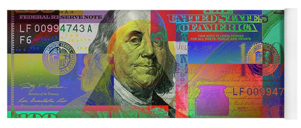 2009 Series Pop Art Colorized U. S. One Hundred Dollar Bill No. 1 Yoga Mat