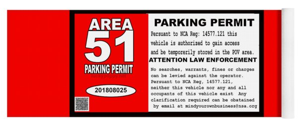 2018 Area 51 Parking Permit Yoga Mat
