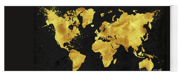 Tina lavoie yoga mats yoga mat featuring the painting 24 karat world in black gold metal world map by gumiabroncs Gallery