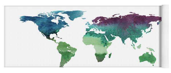 World map paint splashes yoga mats fine art america 2d hand drawn illustration of world map yoga mat gumiabroncs Gallery