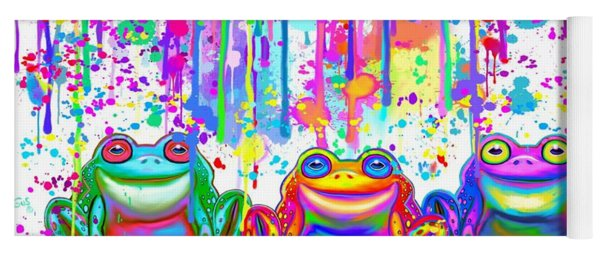 3 Colorful Painted Frogs Yoga Mat