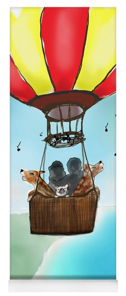 3 Dogs Singing In A Hot Air Balloon Yoga Mat