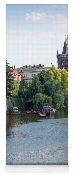 historical skyline at the moldova river, Prague, Czech Republic Yoga Mat