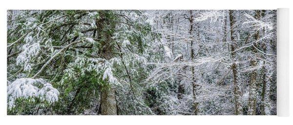 March Snow Along Cranberry River Yoga Mat