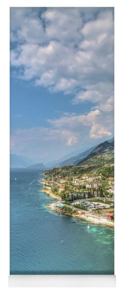 view over the Lake Garda with the charming village Malcesine Yoga Mat