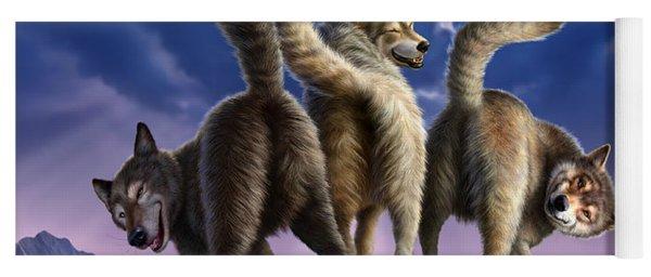 3 Wolves Mooning Yoga Mat