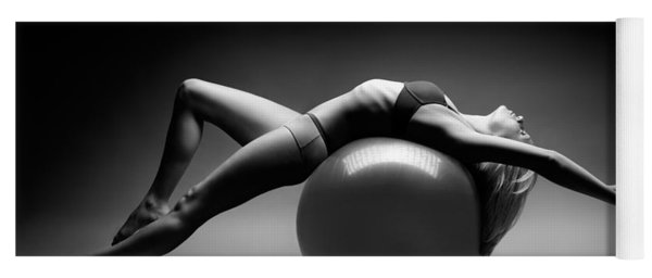 Woman On A Ball Yoga Mat