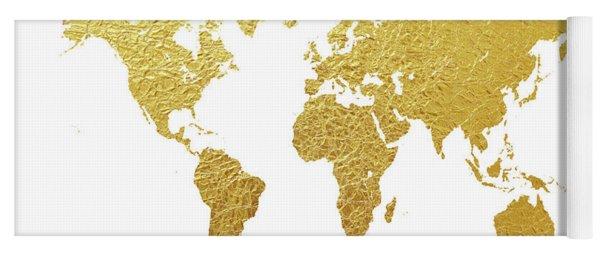 World Map Gold Foil Yoga Mat