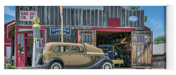 '34 Ford Sedan At Blue Water Garage Yoga Mat