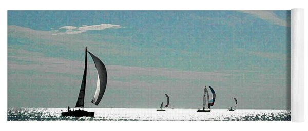4 Boats On The Horizon Yoga Mat
