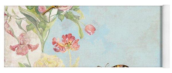 Fleurs De Pivoine - Watercolor W Butterflies In A French Vintage Wallpaper Style Yoga Mat