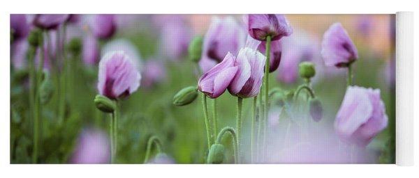 Lilac Poppy Flowers Yoga Mat