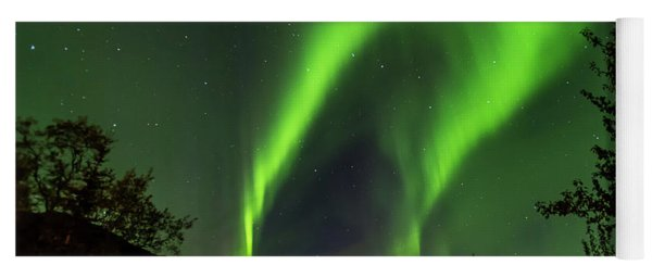 Northern Lights, Aurora Borealis At Kantishna Lodge In Denali National Park Yoga Mat