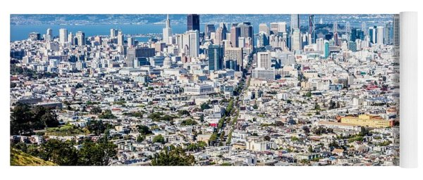 Yoga Mat featuring the photograph San Francisco California Downtown And Surroundings by Alex Grichenko