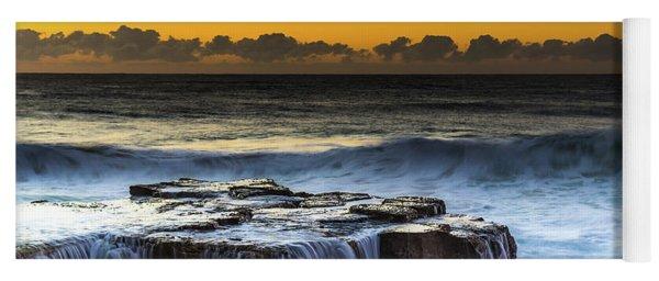 Sunrise Seascape With Cascades Over The Rock Ledge Yoga Mat