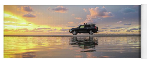 4wd Vehicle And Stunning Sunset Reflections On Beach Yoga Mat