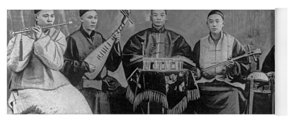 5 Chinese Musicians Playing Flute, 2-stringed Fiddle, 3-stringed Psaltery, Drums, And Small Bells Yoga Mat