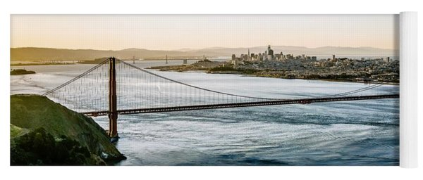Yoga Mat featuring the photograph Golden Gate Bridge San Francisco California West Coast Sunrise by Alex Grichenko