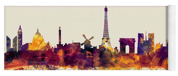 Paris France Skyline Yoga Mat