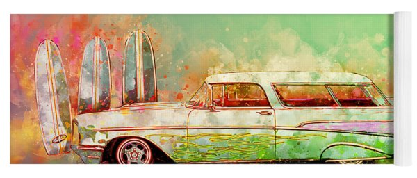 57 Chevy Nomad Wagon Blowing Beach Sand Yoga Mat