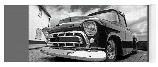 57 Stepside Chevy In Black And White Yoga Mat