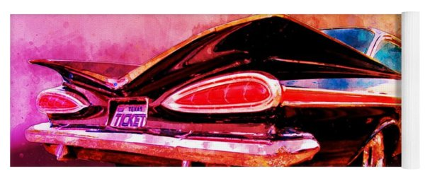 59 Chevy Ticket To Ride Watercolour Yoga Mat