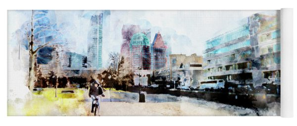 City Life In Watercolor Style Yoga Mat