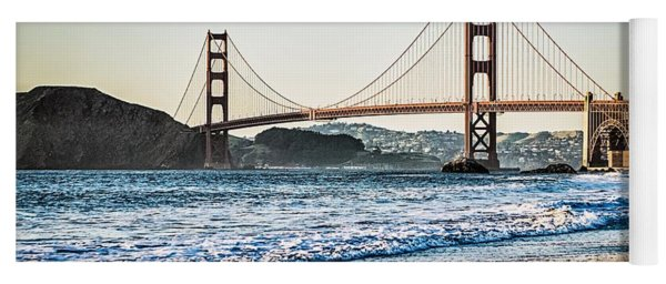 Yoga Mat featuring the photograph Golden Gate Bridge In Its Beauty At Sunset by Alex Grichenko