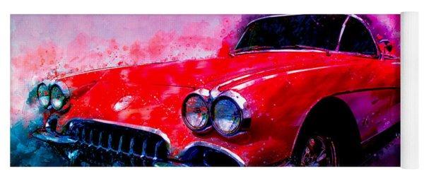 60 Red Corvette Watercolour Illustration Yoga Mat