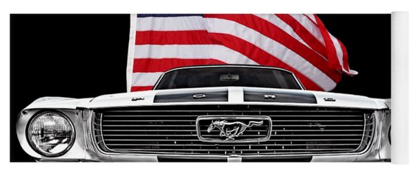 66 Mustang With U.s. Flag On Black Yoga Mat