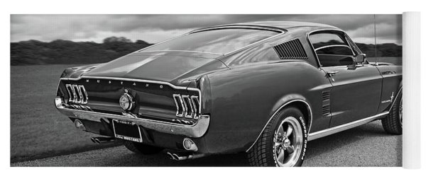 67 Fastback Mustang In Black And White Yoga Mat