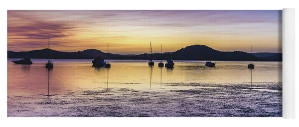 Dawn Waterscape Over The Bay With Boats Yoga Mat