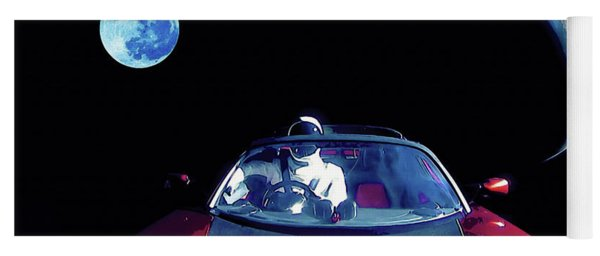 Starman In Tesla Roadster With Planet Earth Traveling In The Space Yoga Mat