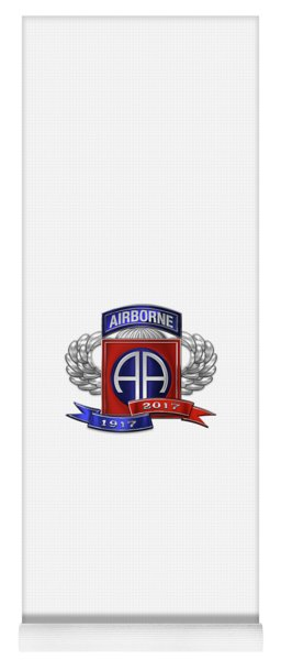 82nd Airborne Division 100th Anniversary Insignia Over White Leather Yoga Mat