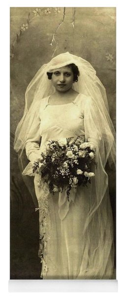 A Beautiful Vintage Photo Of Coloured Colored Lady In Her Wedding Dress Yoga Mat