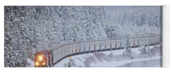 A Canadian Pacific Train Travels Along Yoga Mat