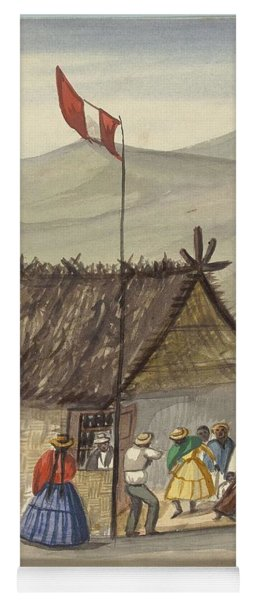 Yoga Mat featuring the painting A Cane Rancho Or Hut Erected For The Purpose Of Dancing Lima Costumes, Ca. 1853 ,fierro, Pancho,  by Artistic Panda