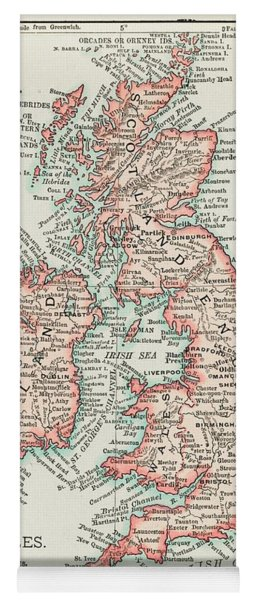 A Cartographic Map Of The British Isles. Published In 1900 Yoga Mat