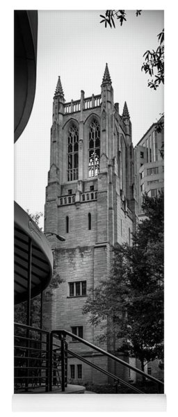 A Charlotte Church Tower In Black And White Yoga Mat