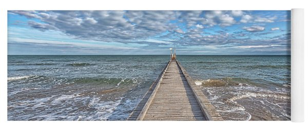 A Dock Leads To The Mediterranean Sea At The Beach Of Lido Die Jesolo, Italy Yoga Mat