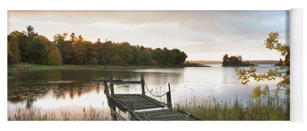 A Dock On A Lake At Sunrise Near Wawa Yoga Mat