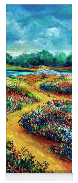 A Field Of Flowers And The Bridge Beyond Yoga Mat