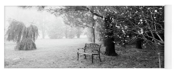 A Foggy Spring Morning In Black And White Yoga Mat