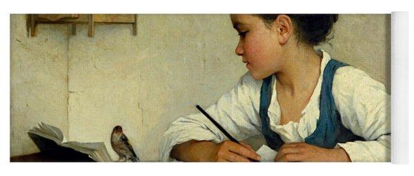 A Girl Writing. The Pet Goldfinch Yoga Mat