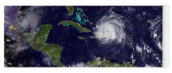 A Goes Satellite Shows Hurricane Irma, Center, And Hurricane Jose, Right, In The Atlantic Ocean, And Yoga Mat