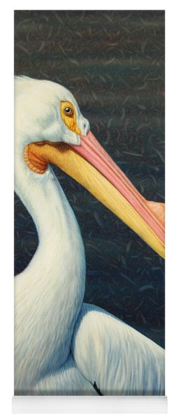 Yoga Mat featuring the painting A Great White American Pelican by James W Johnson