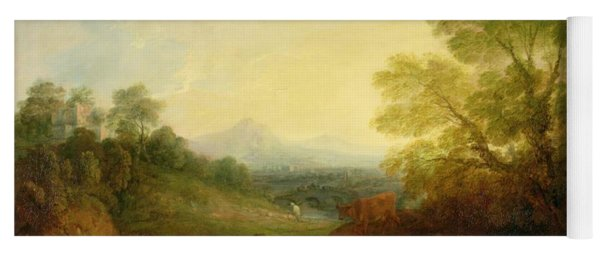 A Landscape With Cattle And Figures By A Stream And A Distant Bridge Yoga Mat