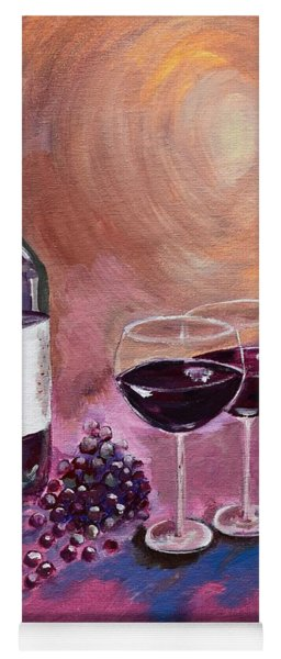 Yoga Mat featuring the painting A Little Wine On My Canvas - Wine - Grapes by Jan Dappen
