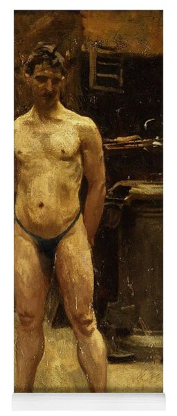 Yoga Mat featuring the painting A Male Model Standing Before A Stove John Singer Sargent by Artistic Panda